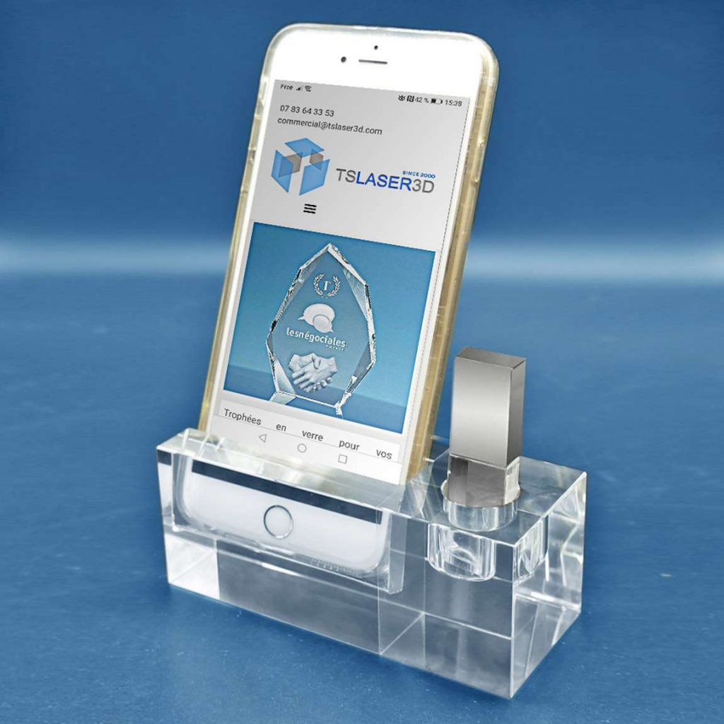 support-smartphone-cle-usb-verre