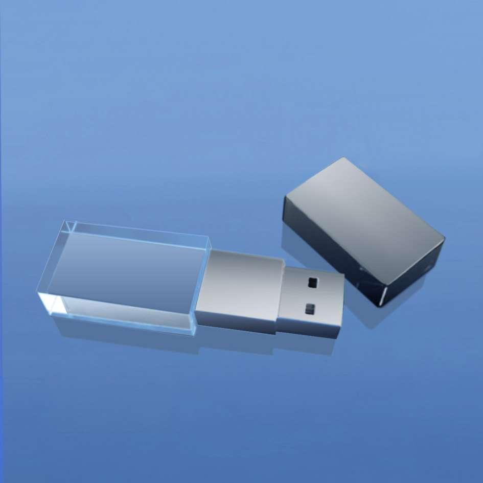 cle usb en verre et metal chrome